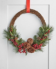 Farmhouse Asymmetrical Rattan, Berry & Pinecone Wreath, Created for Macy's