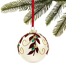 Evergreen Dreams, Glass Ball Ornament with Flocked Leaf Detail, Created for Macy's