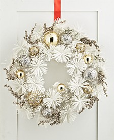 Shine Bright White and Gold Wreath, Created for Macy's