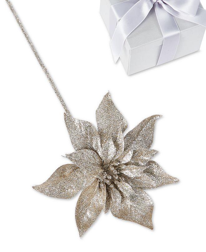 Holiday Lane Shimmer and Light Glitter Flower Pick Ornament, Created for Macy's