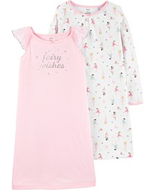 Toddler Girls 2-Pack Fairy Nightgowns