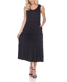 Women's Scoop Neck Tiered Midi Dress