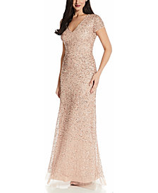 Adrianna Papell V-Neck Sequin Gown