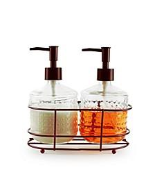 Vintage-Like Hobnail Soap and Lotion Dispenser, Set of 2