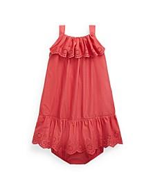 Baby Girls Ruffled Eyelet Dress and Bloomer