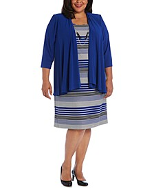 Plus Size Striped Dress & Draped-Front Jacket