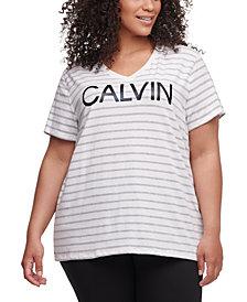Calvin Klein Performance Plus Size Runway Striped Top