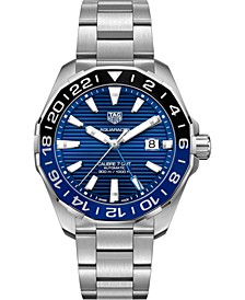 Men's Swiss Automatic Aquaracer Calibre 7 GMT Stainless Steel Bracelet Watch 43mm