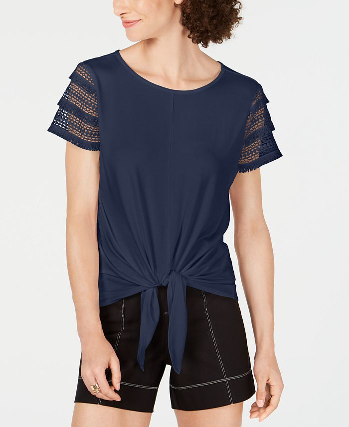 INC International Concepts - Plus Size Lace-Sleeve Tie-Front Top