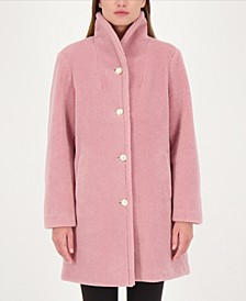 Pearl-Button Teddy Faux-Fur Coat