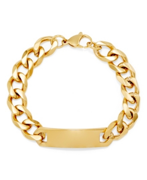 Men's Gold Tone Id Bracelet with Curb Link