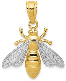 Two-Tone Bee Charm Pendant in 14k Gold