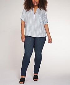 Plus Size Striped V-Neck Top