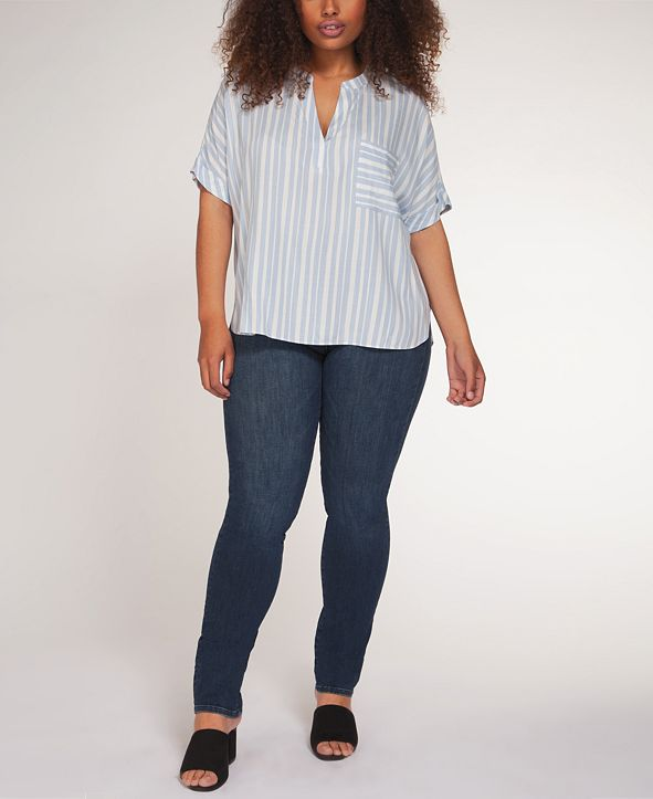 Black Tape Plus Size Striped V-Neck Top