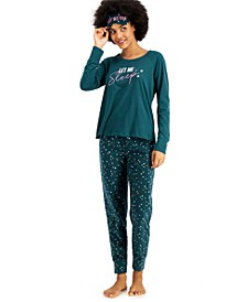 Fleece Pants Pajamas & Eye Mask 3pc Set, Created for Macy's