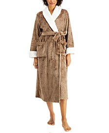 Faux-Sherpa-Trim Robe, Created for Macy's