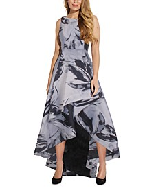 Plus Size Printed High-Low Gown