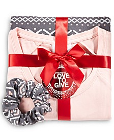 Pajama & Scrunchie 3pc Gift Set, Created for Macy's