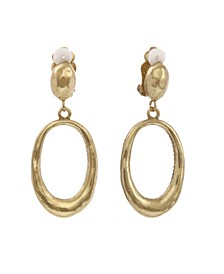 Oval Drop Clip Earrings