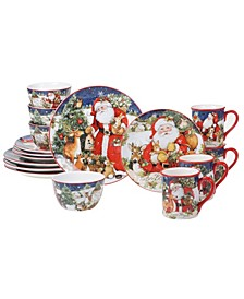 Magic of Christmas Santa 16 Piece Dinnerware