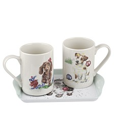 3 Piece Mug and Tray Set - Santa's Little Helpers