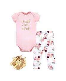 Baby Girls Bodysuit, Pant and Shoe Set