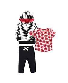 Toddler Girls Hoodie, Bodysuit or Tee Top and Pant Set