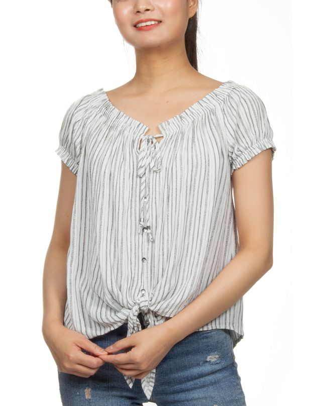 Hippie Rose Juniors' Off-The-Shoulder Peasant Top
