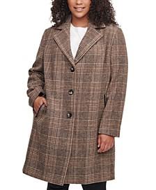 Plus Size Plaid Faux-Leather-Trim Walker Coat, Created for Macy's