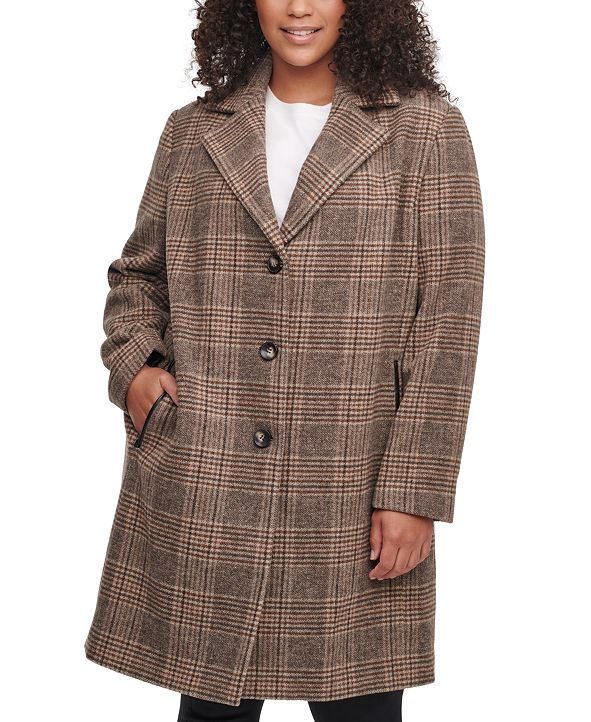 DKNY Plus Size Plaid Faux-Leather-Trim Walker Coat, Created for Macy's