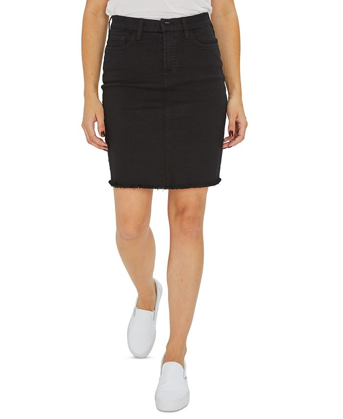 Jen7 by 7 For All Mankind - Raw-Hem Colored Denim Pencil Skirt