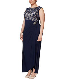 SL Fashions Plus Size Embellished Lace Gown