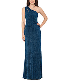 XSCAPE One-Shoulder Glitter Gown