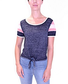 Juniors' Burn-Out Tie-Front Top