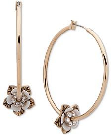 """Gold-Tone Medium Pavé Flower Bead Hoop Earrings, 1.75"""""""