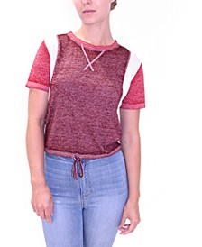 Juniors' Tie-Waist Burn-Out Top