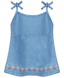 Baby Girls Floral Embroidered Denim Top, Created for Macy's