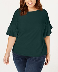 INC Plus Size Ruffle-Sleeve Top, Created for Macy's