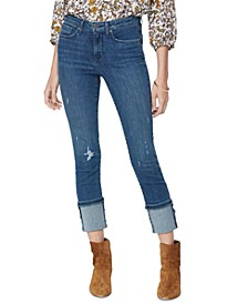Sheri Ripped Tall-Cuff Ankle Jeans