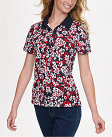 Tommy Hilfiger Daisy-Print Zip-Neck Top, Created for Macy's