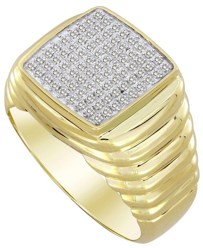 Macy's - Men's Diamond (1/4 ct. t.w.) Ring in 10k Yellow Gold