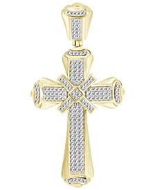 Men's Diamond (1/2 ct.t.w.) Cross Pendant in 10K Yellow Gold
