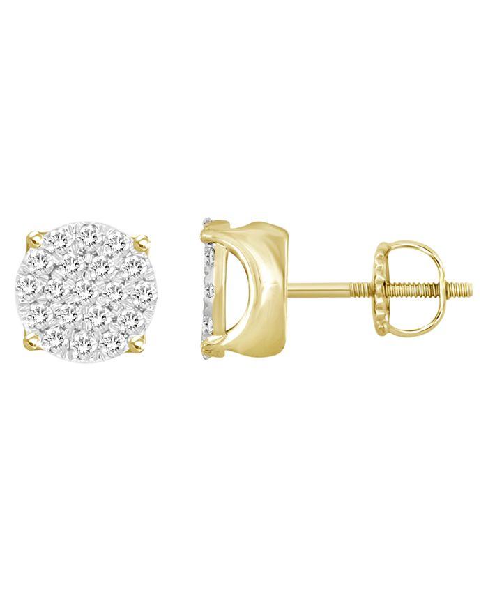 Macy's - Men's Diamond (1/2 ct. t.w.) Earring Set in 10k Yellow Gold