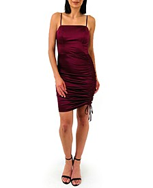Juniors' Side-Ruched Satin Bodycon Dress