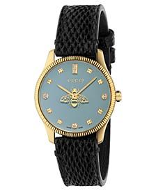 Women's Swiss G-Timeless Slim Diamond (1/10 ct. t.w.) Black Leather Strap Watch 29mm
