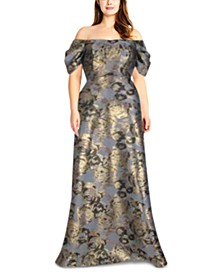Petite Off-The-Shoulder Metallic Floral-Print Gown