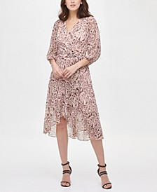 Balloon Sleeve V-Neck Wrap Dress