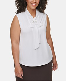 Plus Size Tie-Neck Blouse