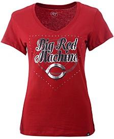 Women's Cincinnati Reds Home Slogan Ultra Rival V-Neck T-Shirt
