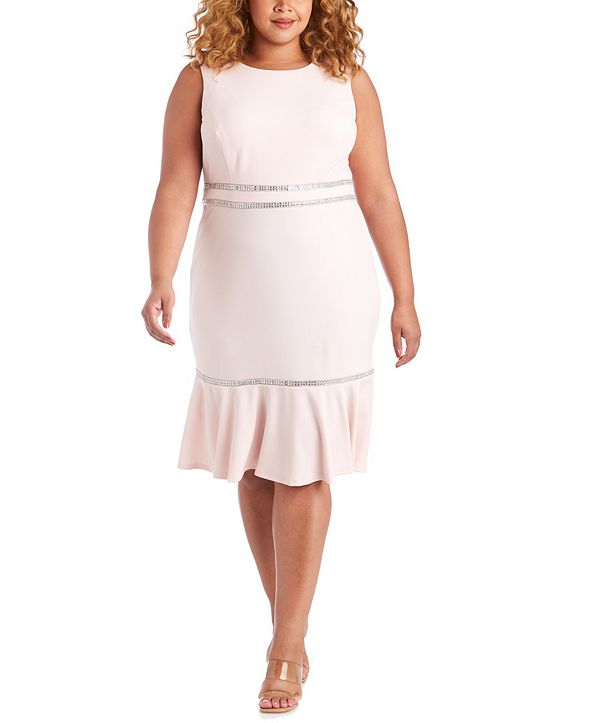 R & M Richards Plus Size Rhinestone-Detail A-Line Dress
